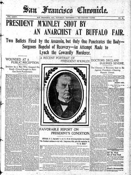 Historic Chronicle Front Page September  07, 1901  President William McKinley is shot Photo: The Chronicle 1901