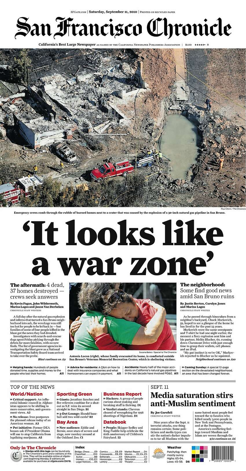 Historic Chronicle Front Page September 11, 2010 A PG&E pipeline explosion would devastate a San Bruno neighborhood