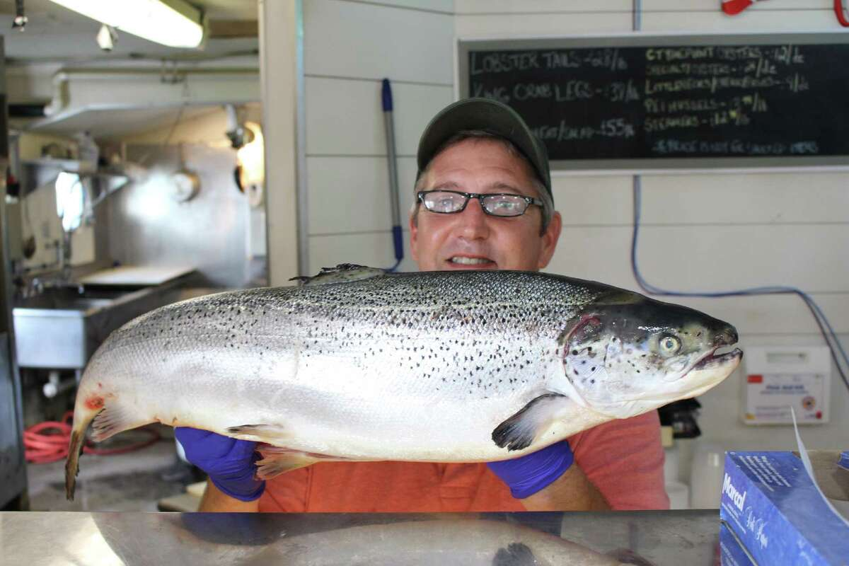 Manager Scott Bennett holds up an Atlantic salmon at The Rowayton Seafood Market, which sits in an old lobster shack that was once the oldest operating lobster co-op on the Long Island Sound. The market offers its own take on the lobster roll as well as other fresh seafood offerings daily.