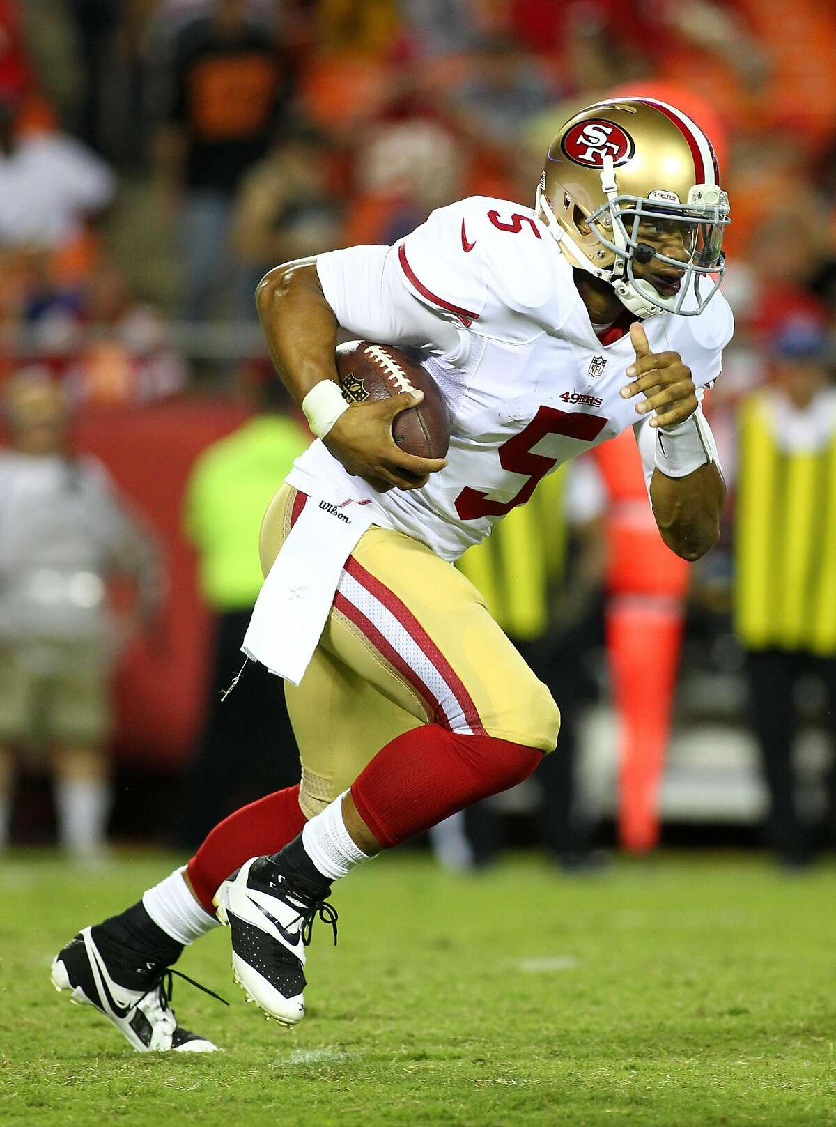 """B.J. Daniels, quarterback Salt Lake Stallions, second round The 49ers drafted B.J. Daniels in the seventh round of the 2013 NFL draft. He didn't last long, as he was waived before the season began. In fact, his entire NFL career was basically getting signed by a team and then waived or released by it. He threw a total of two passes. Fun fact: B.J.'s first name is Bruce. His middle name is Edward. So where did the """"J"""" come from?"""