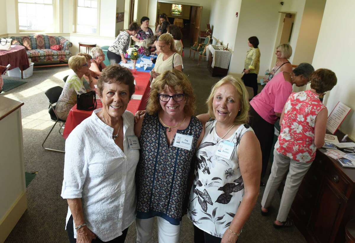 Three of the founders of the Albany Chapter Sandra Alinger, Peg Donovan and Jeri Bosman during a meeting of 100 Women Who Care, Albany chapter at Delmar Reformed Church on Thursday Aug. 11, 2016 in Delmar, N.Y. (Michael P. Farrell/Times Union)
