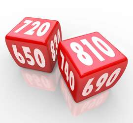 Two red dice with credit scores on their faces    Fotolia for Francis