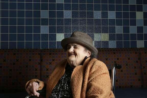 Millie Gardiner, 93, pictured in the cafeteria at The Laguna Honda Rehabilitation Center August 17, 2016 in San Francisco, Calif.