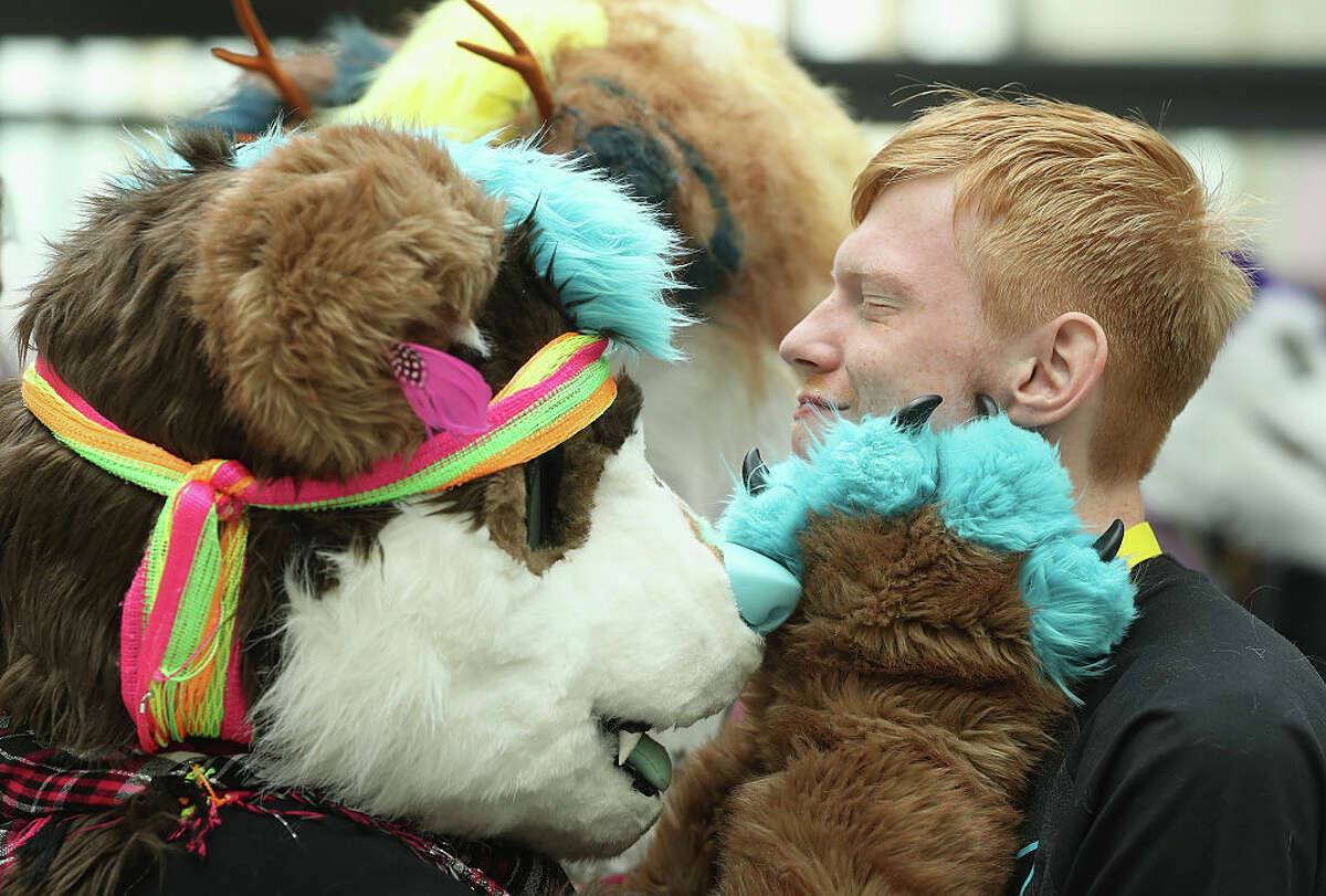 A participant who had not yet changed into his fur suit gets a furry greeting at the Estrel Hotel on the first day of the 2016 Eurofurence furries gathering on August 17, 2016 in Berlin, Germany. Approximately 2,500 furries from all over the world will participate in the four-day convention that includes dance parties, fashion shows and art events.Furries describe themselves as anthropomorphic actors and the movement has its roots in science fiction and fantasy genres going back to the 1980s.