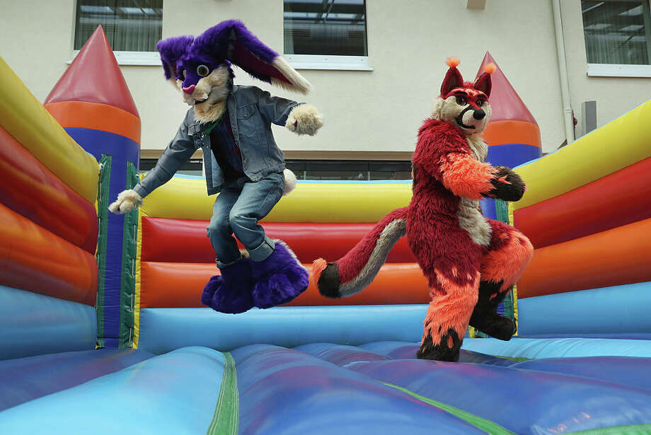 Two participants, or furries, as they prefer to be called, jump in an inflatable jumping castle at the Estrel Hotel on the first day of the 2016 Eurofurence furries gathering on August 17, 2016 in Berlin, Germany. Approximately 2,500 furries from all over the world will participate in the four-day convention that includes dance parties, fashion shows and art events. Furries describe themselves as anthropomorphic actors and the movement has its roots in science fiction and fantasy genres going back to the 1980s. Photo: Sean Gallup/Getty Images