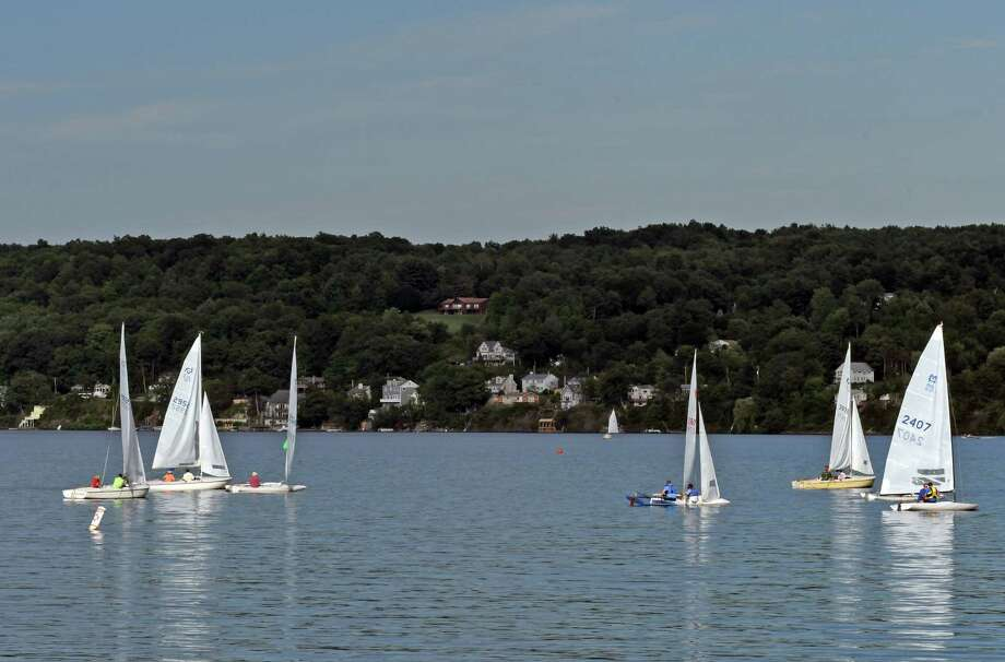 Racing sailboats from Saratoga Lake Sailing Club on Saratoga Lake on Wednesday Aug. 17, 2016 in Malta, N.Y. (Michael P. Farrell/Times Union) Photo: Michael P. Farrell / 20037633A
