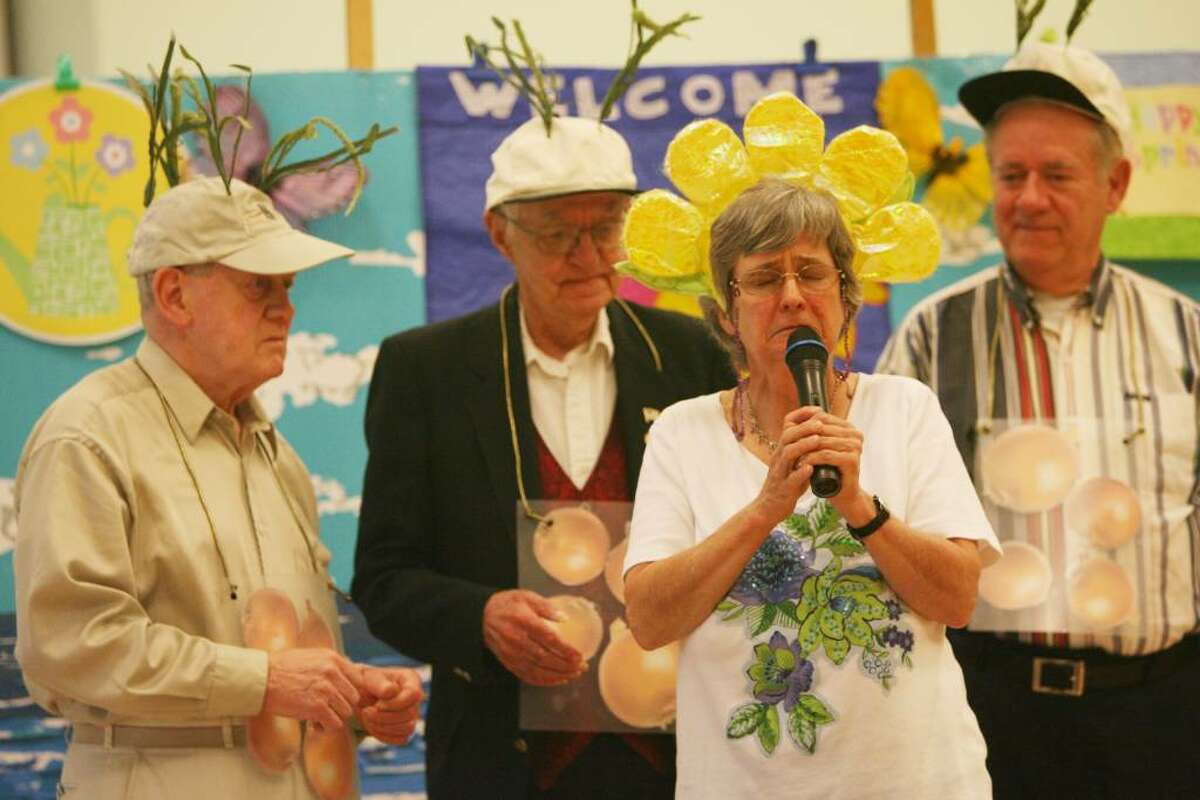 """Entertainers, from left to right, Ed Govan, Rich Amon, Shirley Backus, and Bernie Prendergast, perform """"Lonely Little Petunia"""" , at the Baldwin Center's Springtime review on Friday, April 30, 2010."""