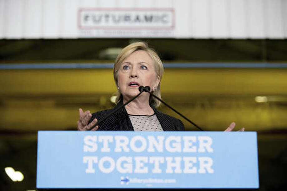 Democratic presidential candidate Hillary Clinton gives a speech on the economy after touring Futuramic Tool & Engineering, in Warren, Mich., Thursday, Aug. 11, 2016. (AP Photo/Andrew Harnik) Photo: Andrew Harnik