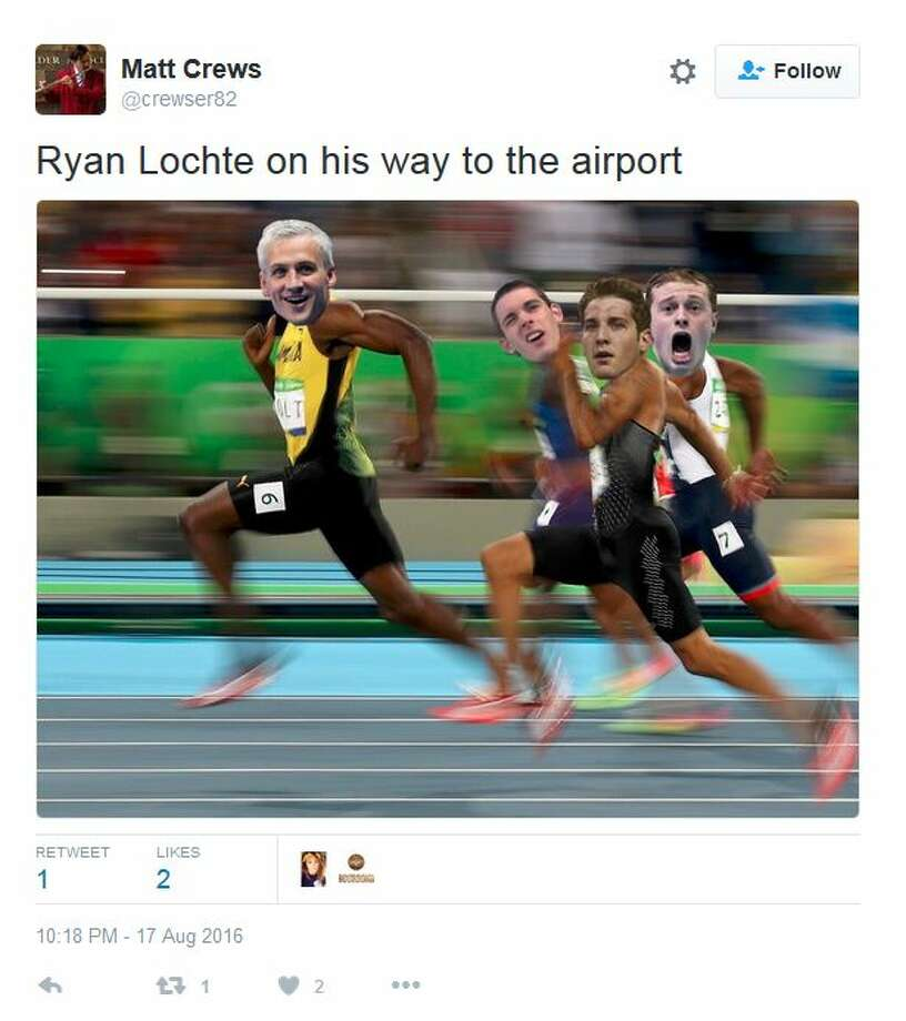 Click ahead to see Internet reactions as Ryan Lochte's robbery story unfoldedRyan Lochte on his way to the airport Photo: Twitter Screen Shots