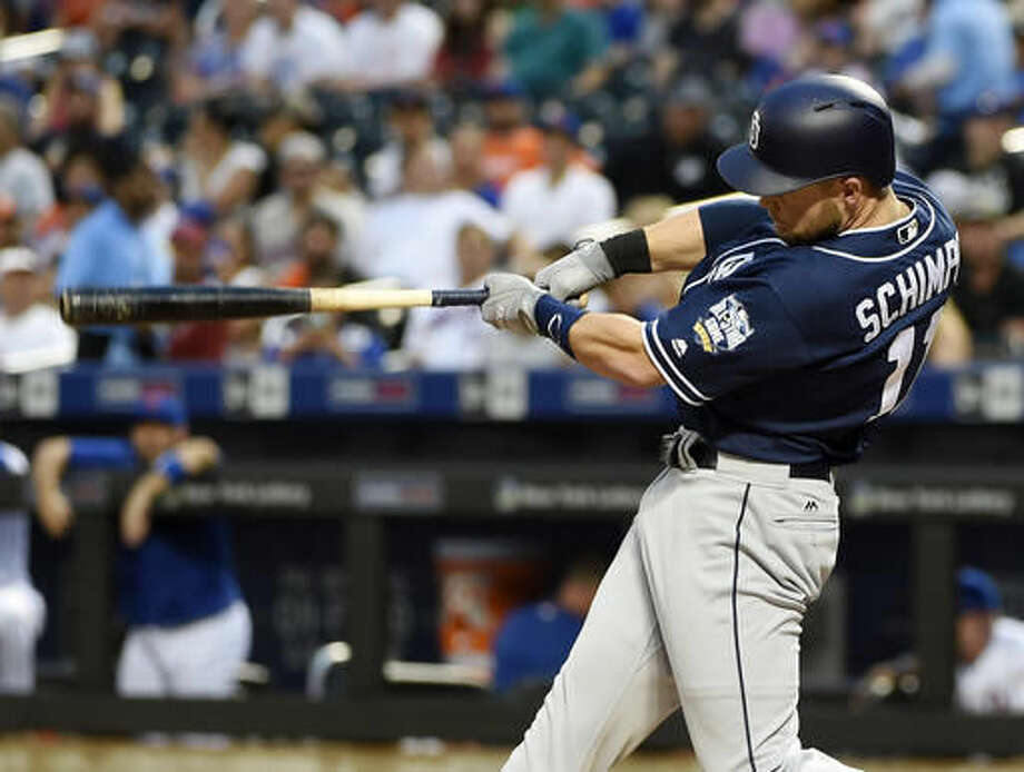 61949e31dfe San Diego Padres  Ryan Schimpf hits a grand slam off of New York Mets  starting