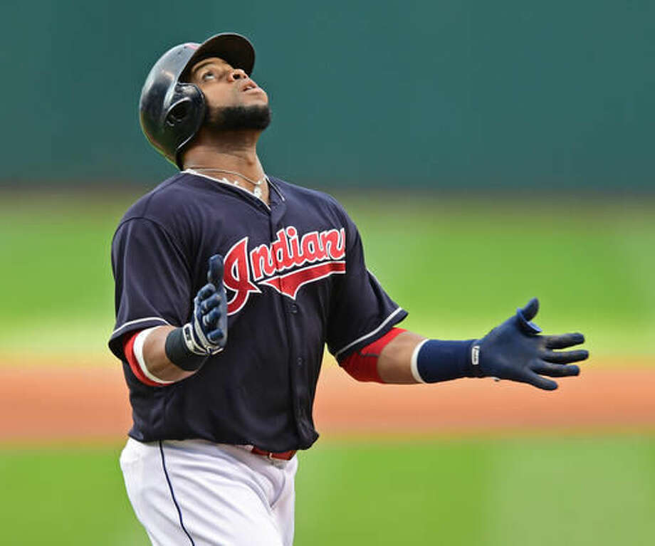 Cleveland Indians' Carlos Santana celebrates after hitting a solo home run off Los Angeles Angels starting pitcher Jhoulys Alvarez during the first inning of a baseball game Thursday, Aug. 11, 2016, in Cleveland. (AP Photo/David Dermer) Photo: David Dermer