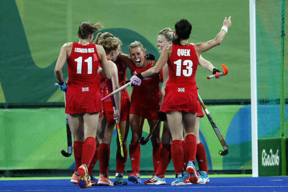 Players from Britain celebrates after scoring against Britain during a women's field hockey match at the 2016 Summer Olympics in Rio de Janeiro, Brazil, Saturday, Aug. 13, 2016. (AP Photo/Dario Lopez-Mills) Photo: Dario Lopez-Mills