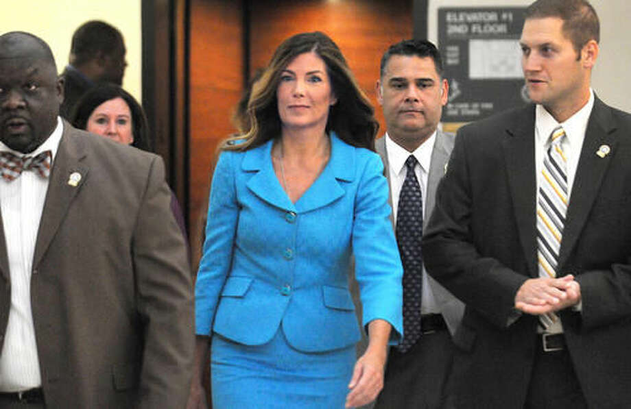 Pennsylvania Attorney General Kathleen Kane enters the Montgomery County courtroom on Thursday, August 11, 2016 to continue her trial in Norristown, Pa. Kane, a first-term Democrat, is accused of leaking secret grand jury documents to the press and lying about it under oath. (Art Gentile/Bucks County Courier Times via AP, Pool) Photo: Art Gentile