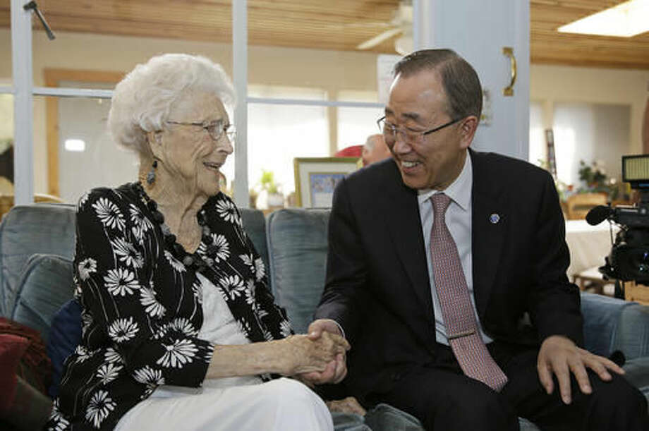 """U.N. Secretary-General Ban Ki-moon visits with his 99-year-old """"American Mom"""" Libba Patterson before lunch at her home Thursday, Aug. 11, 2016, in Novato, Calif. The two became acquainted when Patterson and her family hosted the future UN chief on his first trip to the United States, when he was 18. Patterson had tears in her eyes when she spoke about how the teenage """"Ki-moon"""" became her fourth child and part of her family during his eight-day visit in 1962. When Ban is on the west coast he tries to visit Patterson at her home north of San Francisco. (AP Photo/Eric Risberg) Photo: Eric Risberg"""