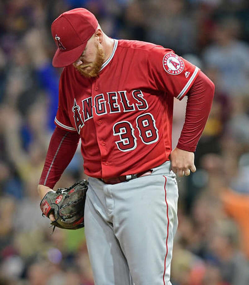 Los Angeles Angels relief pitcher Brett Oberholtzer hangs his head after a three-run home run by Cleveland Indians' Mike Napoli during the fifth inning of a baseball game, Thursday, Aug. 11, 2016, in Cleveland. (AP Photo/David Dermer) Photo: David Dermer