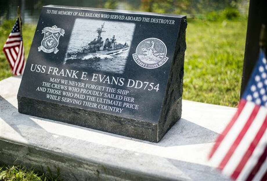 A memorial for the destroyer U.S.S Frank E. Evans, DD-754, which lost 73 sailors when it was cut in half in a collision with an aircraft carrier during the Vietnam War, has been established near the U.S.S. Edson in Bangor Township on Aug. 10, 2016. (Jacob Hamilton/The Bay City Times via AP) Photo: Jacob Hamilton