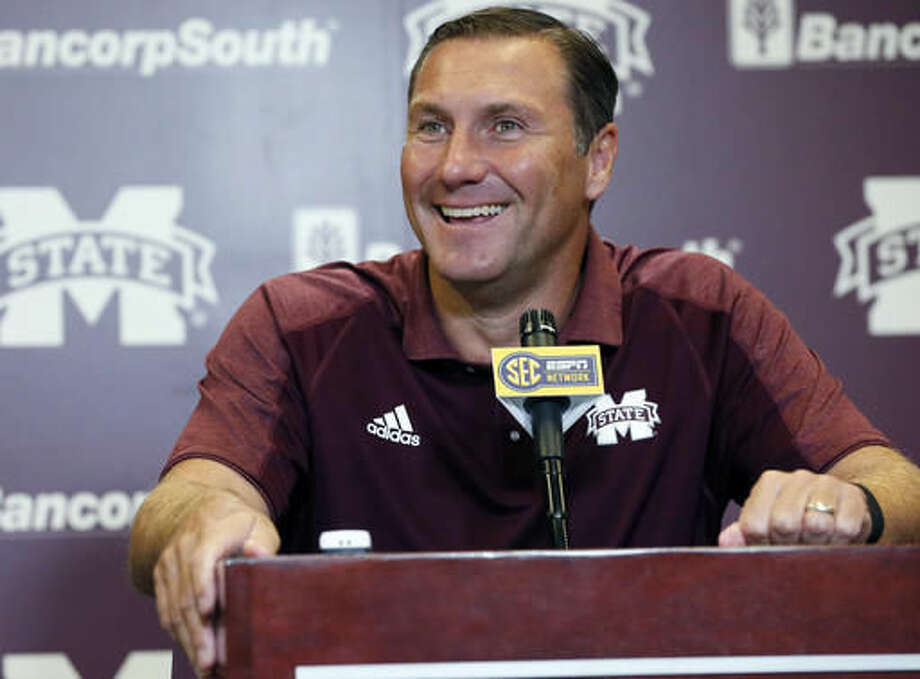 FILE - In this Aug. 1, 2016, file photo,Mississippi State football coach Dan Mullen smiles at a reporter's question about the upcoming season during NCAA college football media day, in Starkville, Miss. (AP Photo/Rogelio V. Solis, File) Photo: Rogelio V. Solis