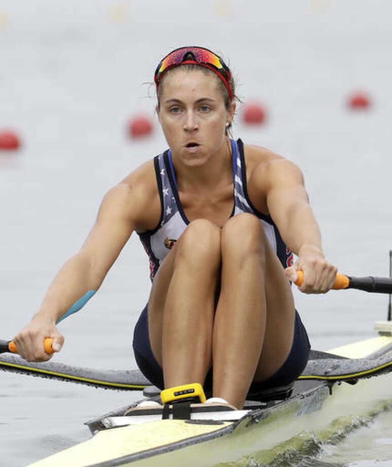 Genevra Stone, of United States, competes in the women's rowing single sculls semifinal during the 2016 Summer Olympics in Rio de Janeiro, Brazil, Friday, Aug. 12, 2016. (AP Photo/Andre Penner) Photo: Andre Penner