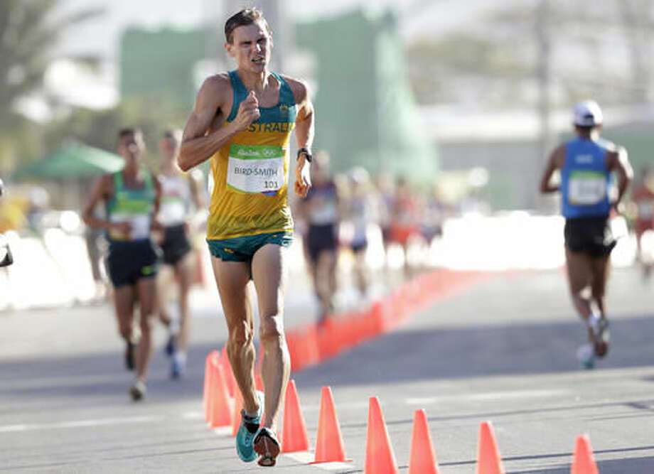 Dane Bird-Smith, of Australia, competes on his way to a bronze medal in the Mens 20 K race walk at the 2016 Summer Olympics in Rio de Janeiro, Brazil, Friday, Aug. 12, 2016. (AP Photo/Robert F. Bukaty) Photo: Robert F. Bukaty