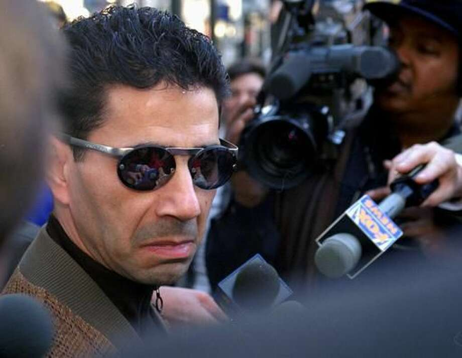 "FILE - In this Feb. 20, 1997 file photo, Joseph ""Skinny Joey"" Merlino talks to the media outside the Criminal Justice Center in Philadelphia. U.S. Magistrate Judge William Matthewson ruled Friday, Aug. 12, 2016, in West Palm Beach, Fla., that Merlino be released on house arrest and wear an ankle monitor. Merlino is charged with allegedly taking part in a health care fraud scheme where conspirators got corrupt doctors to bill insurers for unnecessary prescriptions for expensive compound creams in exchange for kickbacks. (AP Photo/ H. Rumph, Jr.) Photo: H. RUMPH, JR."
