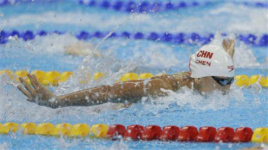 En imagen del 6 de agosto de 2016, la china Chen Xinyi participa en las competencias de nado mariposa en los Juegos Olímpicos de Río de Janeiro, Brasil. Chen aceptó una suspensión provisional al arrojar positivo al uso de una sustancia prohibida en los Juegos de Río. (AP Foto/Matt Slocum) Photo: Matt Slocum