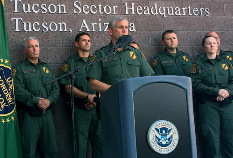 U.S. Border Patrol, Tucson Sector Chief Paul Beeson speaks about the death of veteran U.S. Border Patrol agent Manuel Alvarez in Tucson, Ariz., Friday, Aug. 12, 2016. Alvarez was on patrol in a remote area in southern Arizona on Thursday when he crashed riding motorcycles with a fellow agent. (AP Photo/Astrid Galvan) Photo: Astrid Galvan