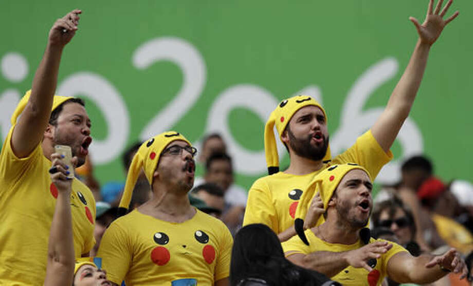 Fans sing during the men's rugby sevens match at the Summer Olympics in Rio de Janeiro, Brazil, Thursday, Aug. 11, 2016. (AP Photo/Themba Hadebe) Photo: Themba Hadebe