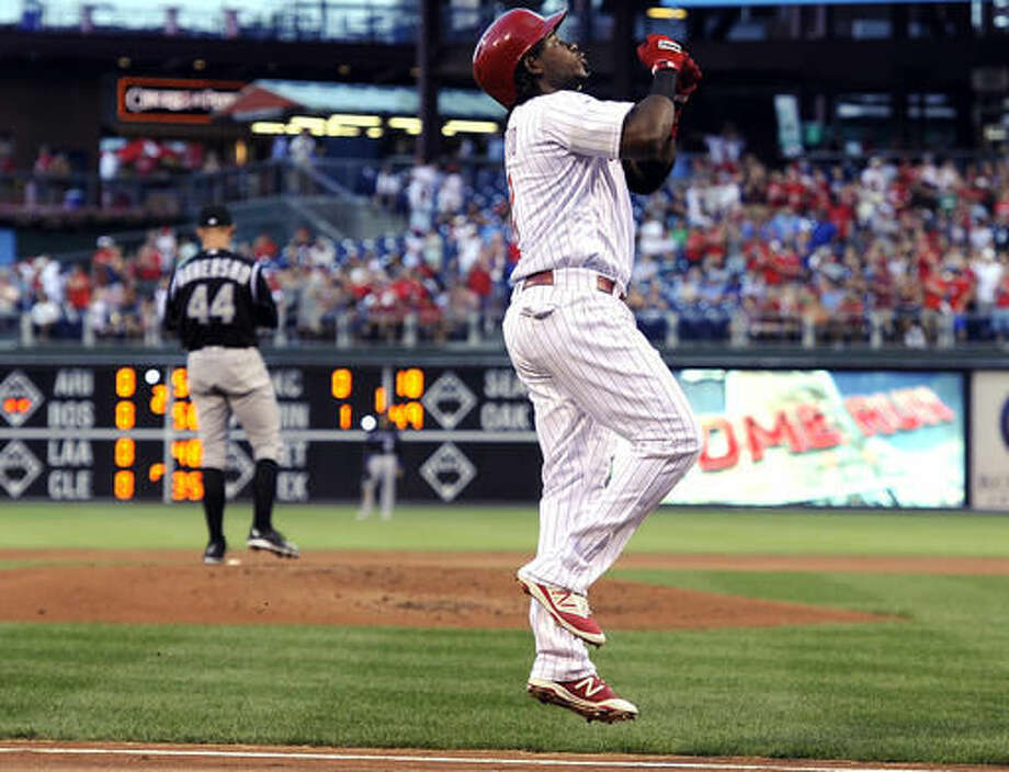 Philadelphia Phillies' Maikel Franco celebrates after hitting a three run homer in the first inning of a baseball game against the Colorado Rockies on Saturday, Aug. 13, 2016, in Philadelphia. (AP Photo/Michael Perez) Photo: Michael Perez