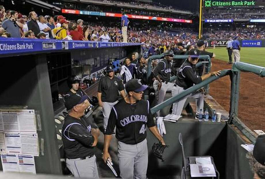 Colorado Rockies starting pitcher Tyler Anderson (4) is ejected from the game after hitting Philadelphia Phillies' Maikel Franco with a pitch in the fourth inning of a baseball game on Saturday, Aug. 13, 2016, in Philadelphia. (AP Photo/Michael Perez) Photo: Michael Perez