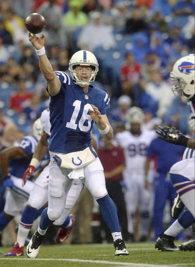 Indianapolis Colts quarterback Scott Tolzien (16) passes against the Buffalo Bills during the first half of a preseason NFL football game Saturday, Aug. 13, 2016, in Orchard Park, N.Y. (AP Photo/Adrian Kraus) Photo: Adrian Kraus