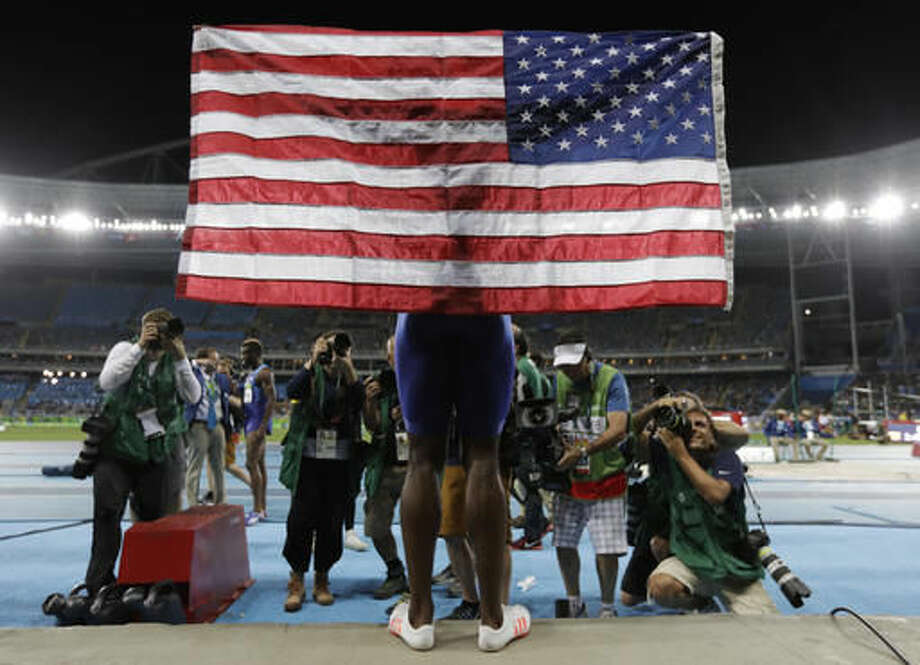 United States' Jeff Henderson celebrates winning the gold medal in the men's long jump during the athletics competitions of the 2016 Summer Olympics at the Olympic stadium in Rio de Janeiro, Brazil, Saturday, Aug. 13, 2016. (AP Photo/Natacha Pisarenko) Photo: Natacha Pisarenko