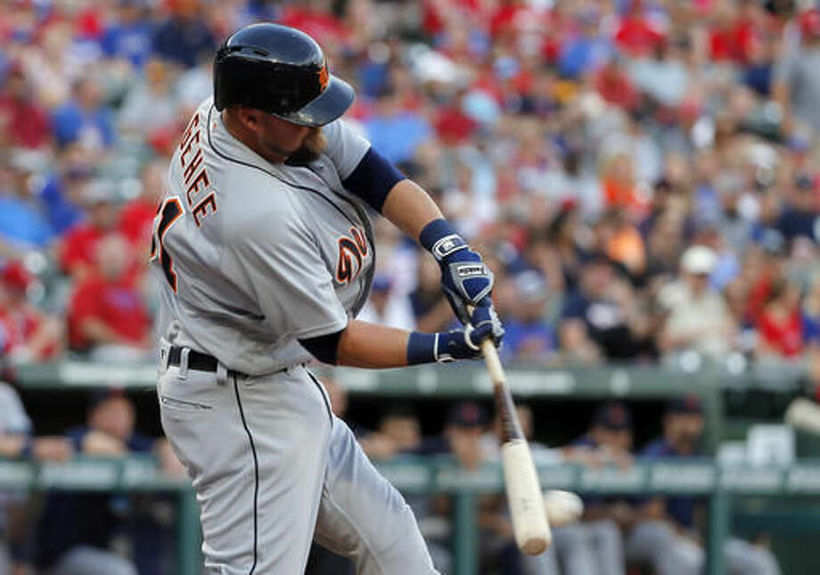 Detroit Tigers' Casey McGehee connects for a single in the first inning of a baseball game against the Texas Rangers on Saturday, Aug. 13, 2016, in Arlington, Texas. (AP Photo/Tony Gutierrez) Photo: Tony Gutierrez