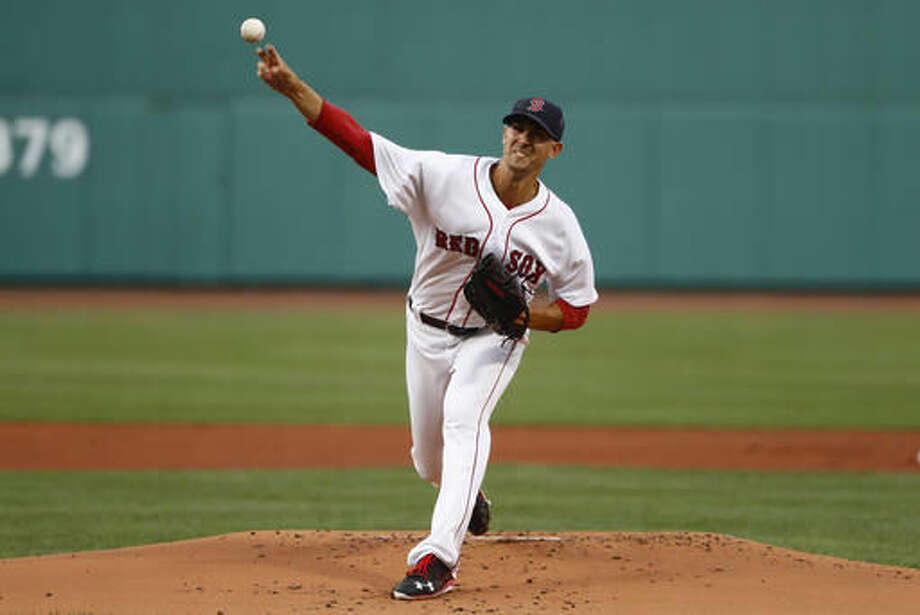 Boston Red Sox starting pitcher Rick Porcello delivers against the New York Yankees during the first inning of a baseball game at Fenway Park in Boston on Tuesday, Aug. 9, 2016. (AP Photo/Winslow Townson) Photo: Winslow Townson