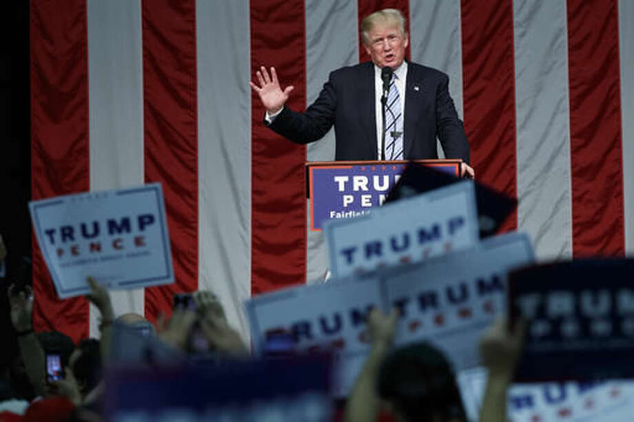 Republican presidential candidate Donald Trump speaks during a campaign rally at Sacred Heart University, Saturday, Aug. 13, 2016, in Fairfield, Conn. (AP Photo/Evan Vucci) Photo: Evan Vucci