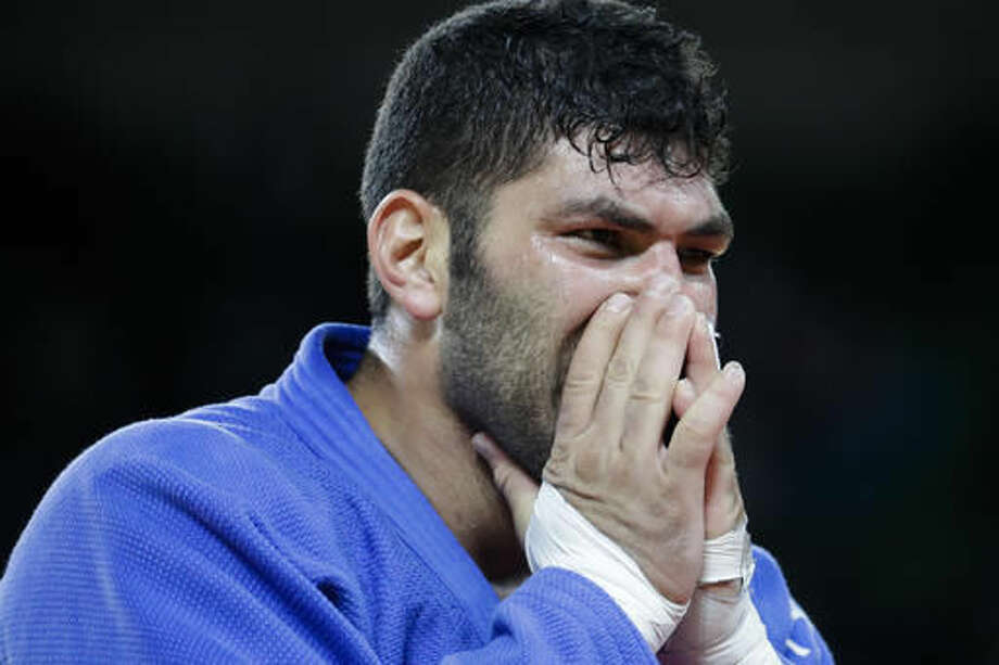 Israel's Or Sasson reacts after winning the bronze medal during the men's over 100-kg judo competition at the 2016 Summer Olympics in Rio de Janeiro, Brazil, Friday, Aug. 12, 2016. (AP Photo/Markus Schreiber) Photo: Markus Schreiber