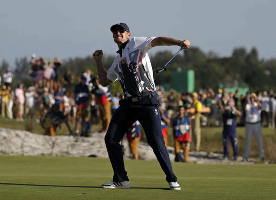 Justin Rose of Great Britain, wins the gold medal during the final round of the men's golf event at the 2016 Summer Olympics in Rio de Janeiro, Brazil, Sunday, Aug. 14, 2016. (AP Photo/Alastair Grant) Photo: Alastair Grant