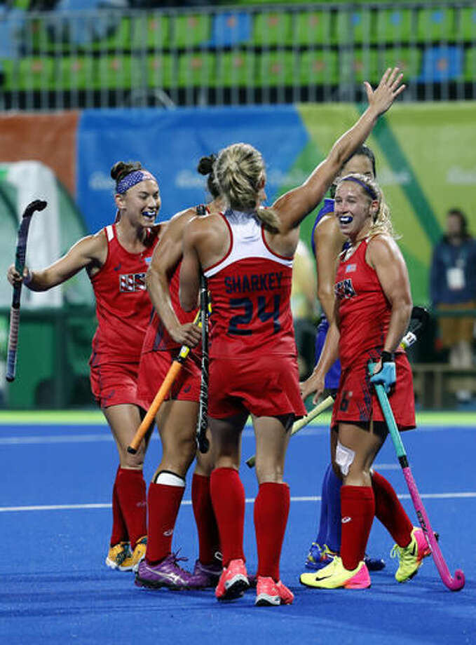 Players of United States celebrates after scoring against Japan during a women's field hockey match at the 2016 Summer Olympics in Rio de Janeiro, Brazil, Wednesday, Aug. 10, 2016. (AP Photo/Dario Lopez-Mills) Photo: Dario Lopez-Mills