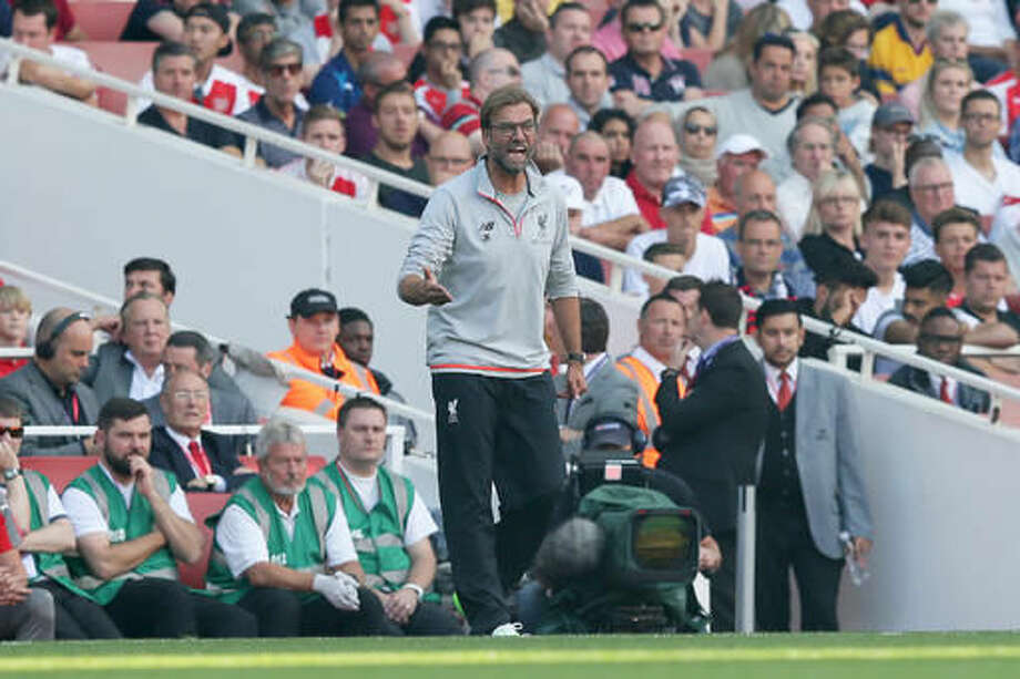 Liverpool's manager Jurgen Klopp shouts orders during the English Premier League soccer match between Arsenal and Liverpool at the Emirates Stadium in London, Sunday Aug. 14, 2016. (AP Photo/Tim Ireland) Photo: Tim Ireland