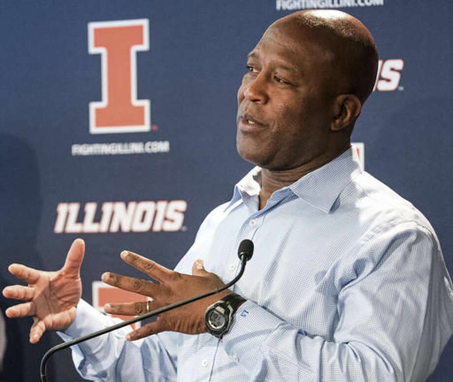 FILE - In this March 29, 2016 file photo, Illinois football coach Lovie Smith speaks with the media at an NCAA college football press conference at Memorial Stadium in Champaign, Ill. Smith takes over an Illinois team with some talent, but little depth and big questions at key positions. But Smith's hire has breathed life back into Illini football like nothing else since the 2007 team that beat Ohio State and went to the Rose Bowl. (Robin Scholz/The News-Gazette via AP File) Photo: Robin Scholz