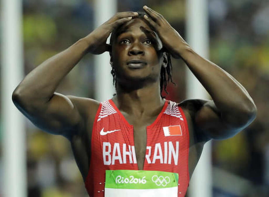 Bahrain's Andrew Fisher reacts after being disqualified in a men's 100-meter semifinal for a false start during the athletics competitions of the 2016 Summer Olympics at the Olympic stadium in Rio de Janeiro, Brazil, Sunday, Aug. 14, 2016. (AP Photo/Jae C. Hong) Photo: Jae C. Hong