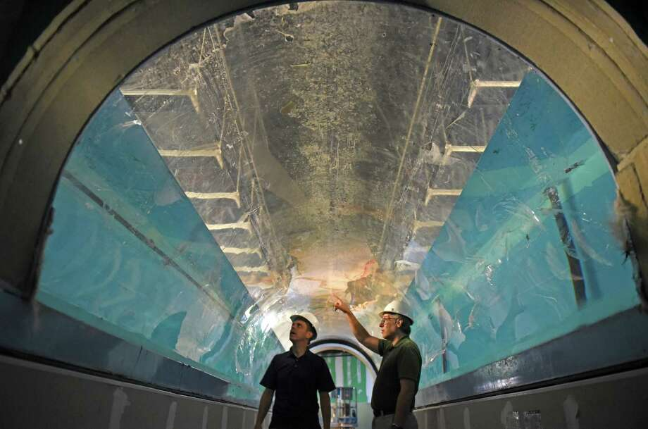 Assemblyman Angelo Santabarbara tours the construction of the Via Aquarium with director David Gross on Wednesday Aug. 17, 2016 in Rotterdam, N.Y. (Michael P. Farrell/Times Union) Photo: Michael P. Farrell / 20037695A