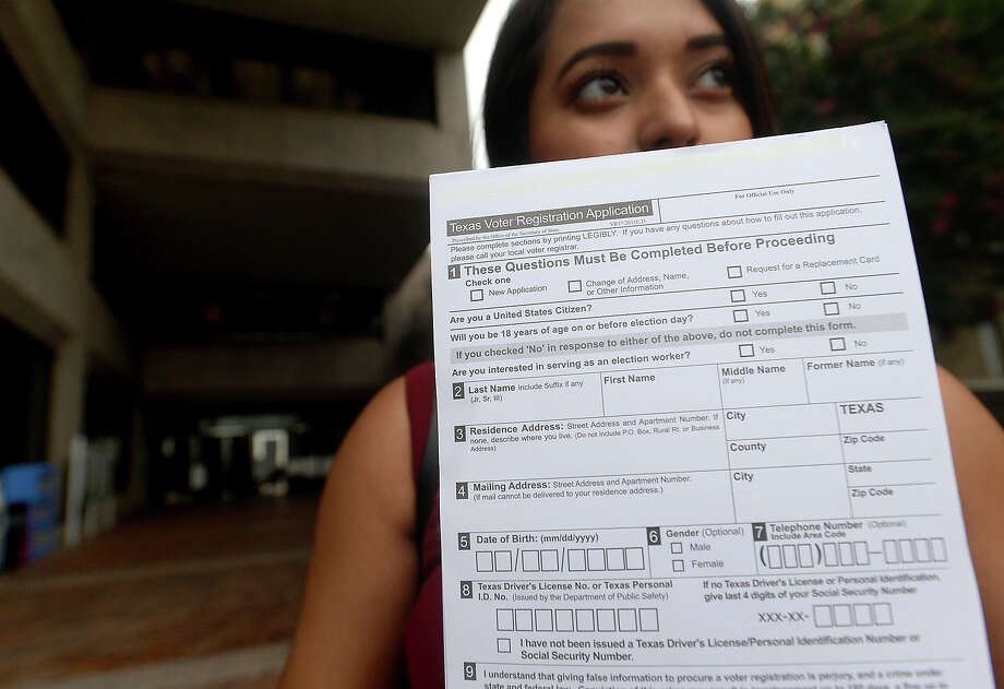 For the first time since the 2000 presidential election, voter registration in Jefferson County has increased. Though small, the increase in numbers is expected to continue, in no small part due to volunteer registrars like 20-year-old Lamar University student Shaina Escobedo.  Photo taken Tuesday, August 16, 2016 Kim Brent/The Enterprise Photo: Kim Brent / Beaumont Enterprise