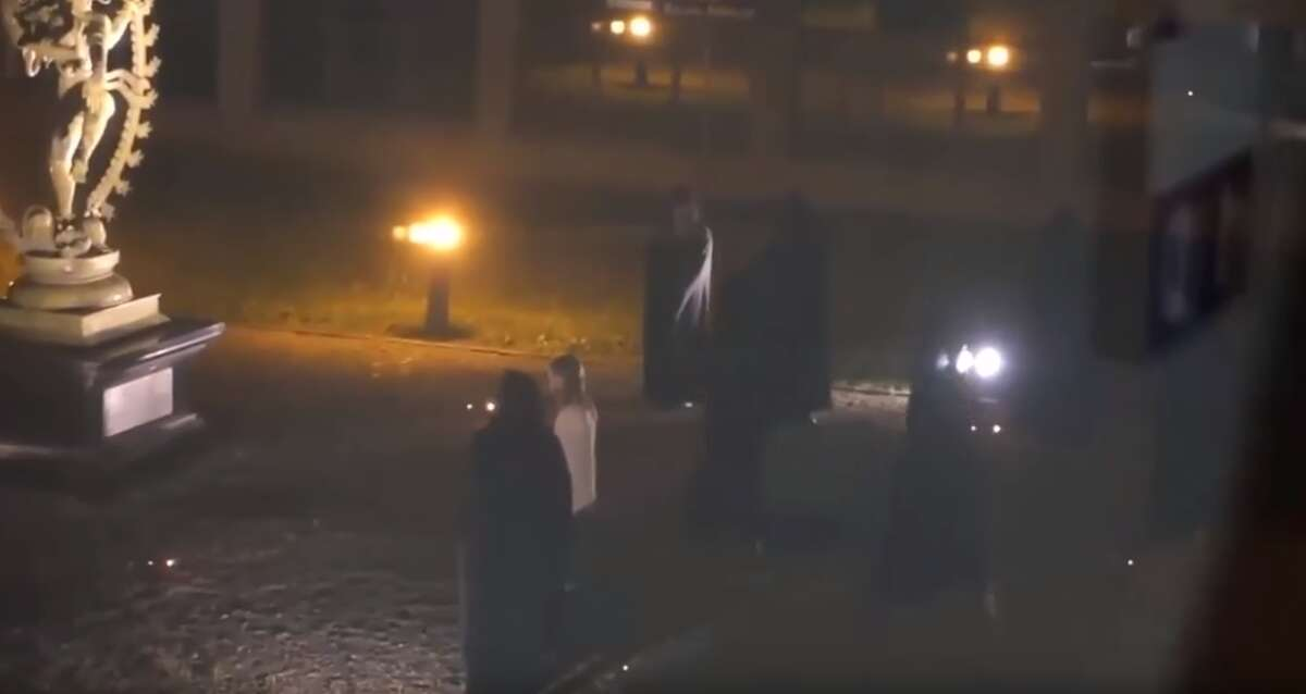 A video shows the fake ritual sacrifice of a woman by hooded figures. It has spread throughout the internet and spawned hundreds of comments about possible conspiracy theories involving the European Organization for Nuclear Research, known as CERN, August 2016.