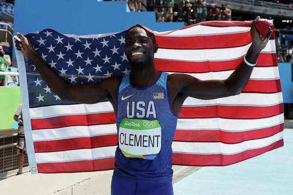 United States' Kerron Clement celebrates winning gold in the men's 400-meter hurdles, during the athletics competitions in the Olympic stadium of the 2016 Summer Olympics in Rio de Janeiro, Brazil, Thursday, Aug. 18, 2016. (AP Photo/Matt Slocum)