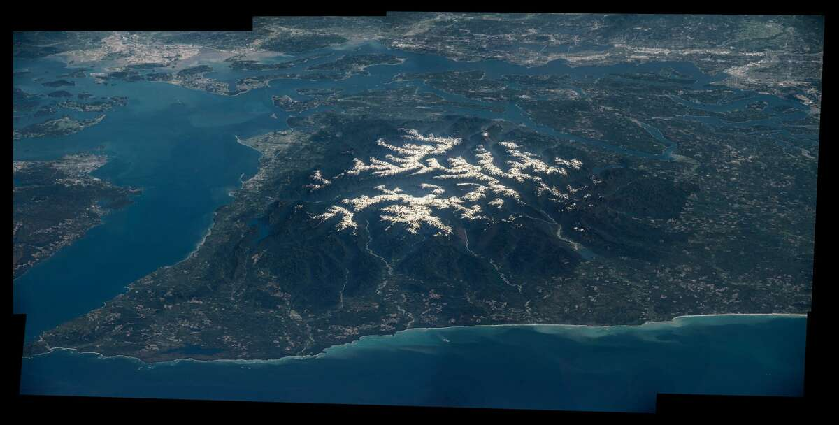 Olympic National Park with Seattle and Tacoma in the background shot from the International Space Station in August 2016.