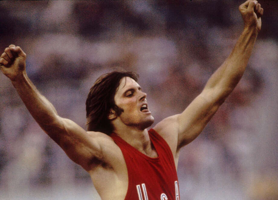 Bruce Jenner of the USA celebrates during his record setting performance in the decathlon in the 1976 Summer Olympics in Montreal, Canada. Photo: Tony Duffy /Allsport / Getty Images