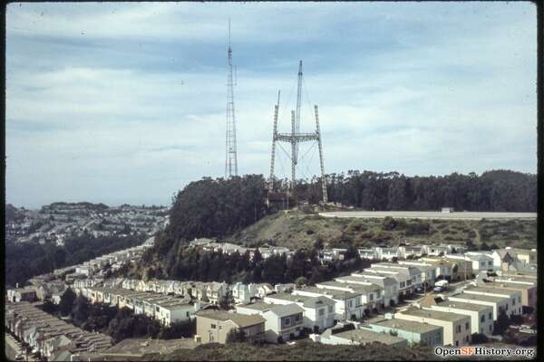 View west from Twin Peaks 1972. Midtown Terrace Sutro Tower under construction. Courtesy of  OpenSFHistory.org .