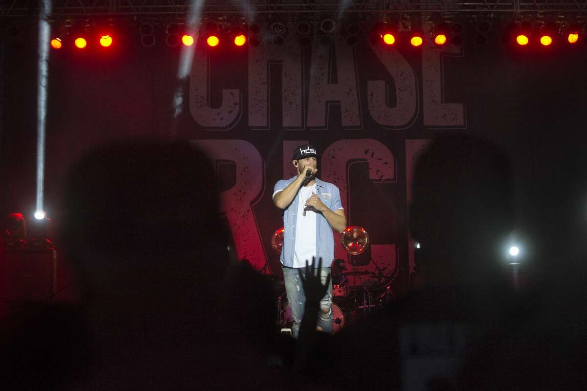 American country music singer and songwriter Chase Rice performs on stage at the Midland County Fair Grandstands Wednesday evening.
