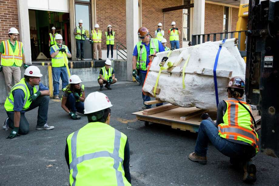 Crews work to move the Burke Museum of Natural History and Culture's new Tyrannosaurus rex skull, wrapped in a protective jacket, onto their loading dock on Thursday, Aug. 18, 2016. Photo: GRANT HINDSLEY, SEATTLEPI.COM / SEATTLEPI.COM