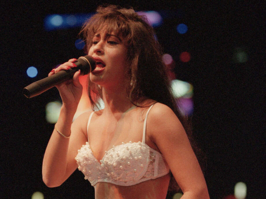 02/27/1994 - Tejano music singer Selena performing at the Houston Livestock Show and Rodeo. Photo: D. Fahleson